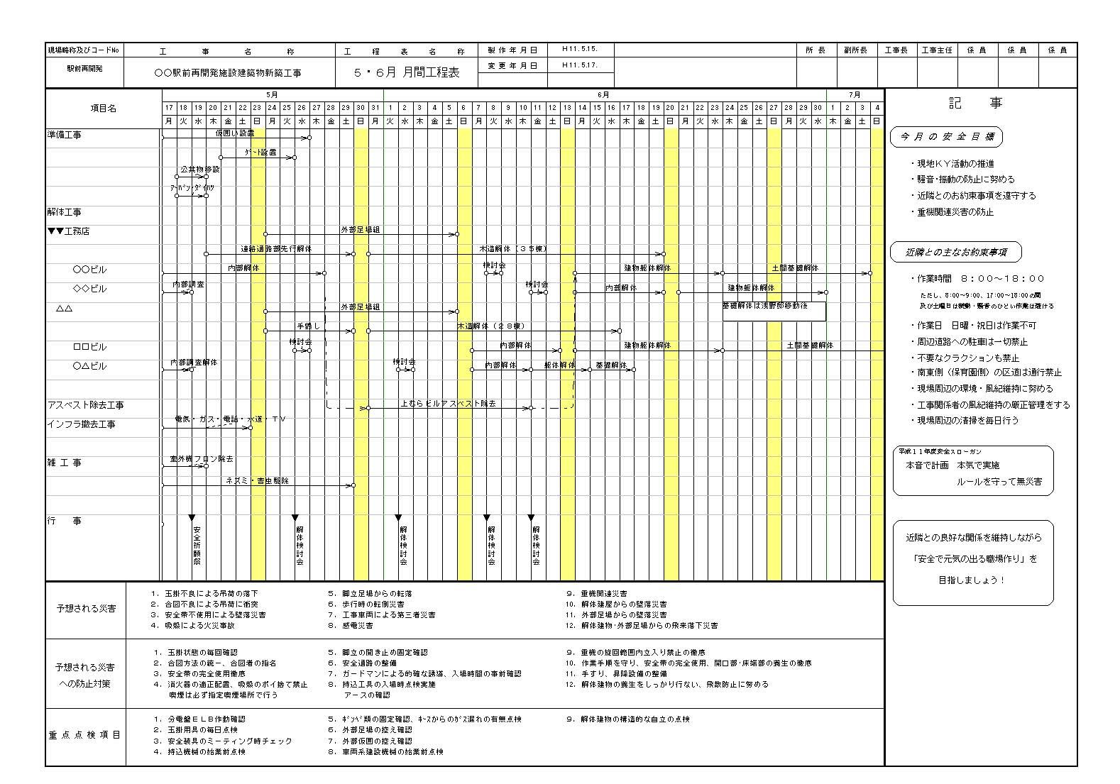 すべての講義 1週間スケジュール表 : 営業・施工計画から現場管理 ...